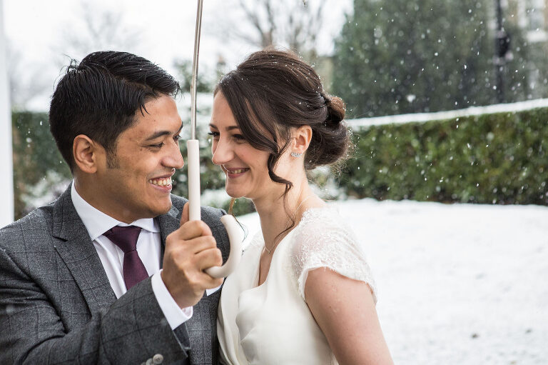 Bride & Groom in the snow in London