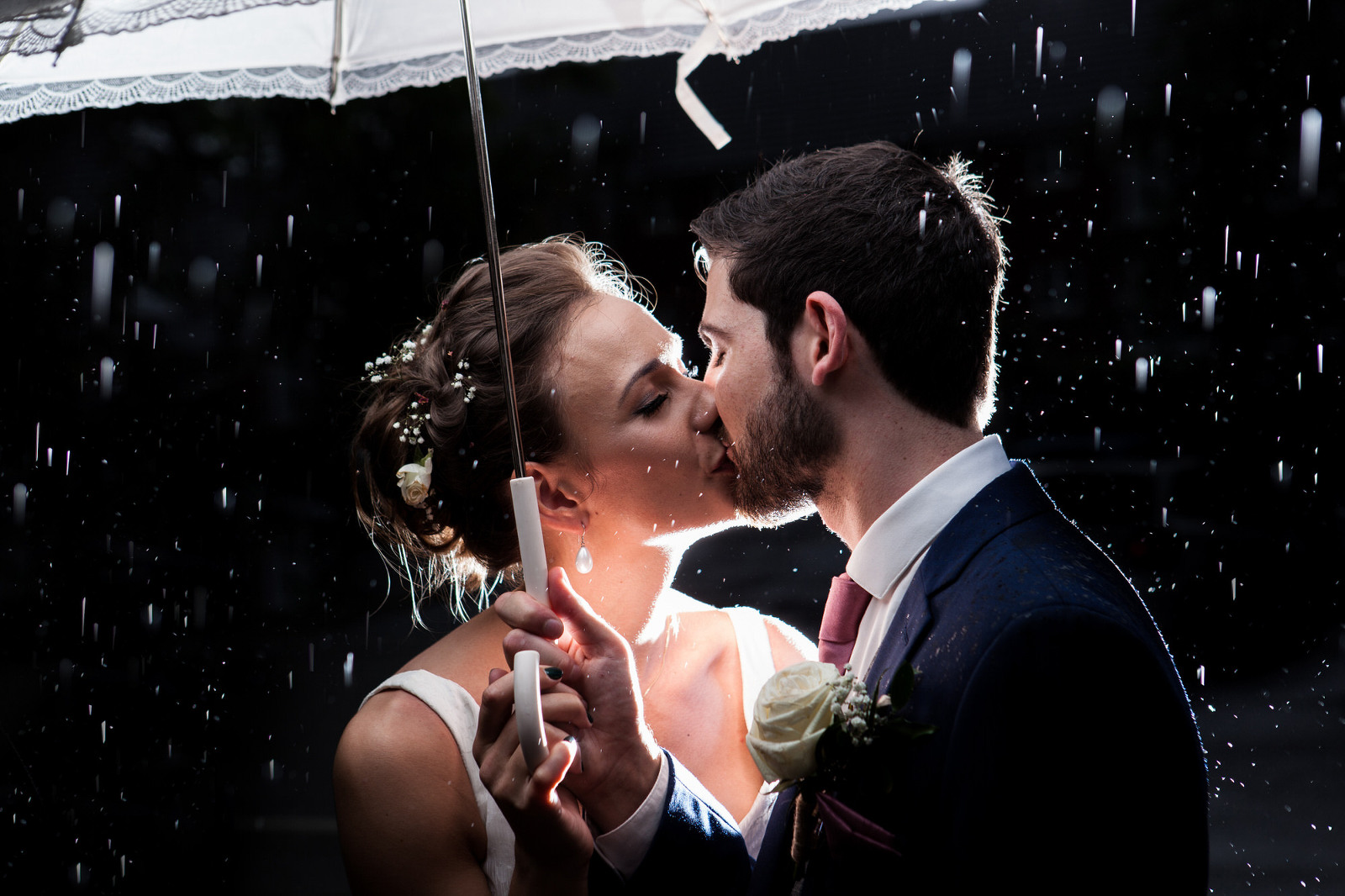 Rainy Wedding Photography - Bride & Groom Kissing in the rain