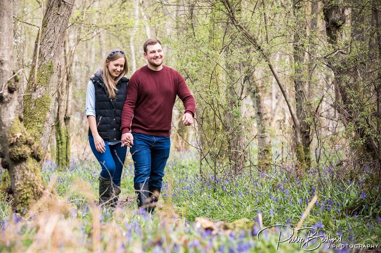 A Couple On A Woodland Engagement Shoot